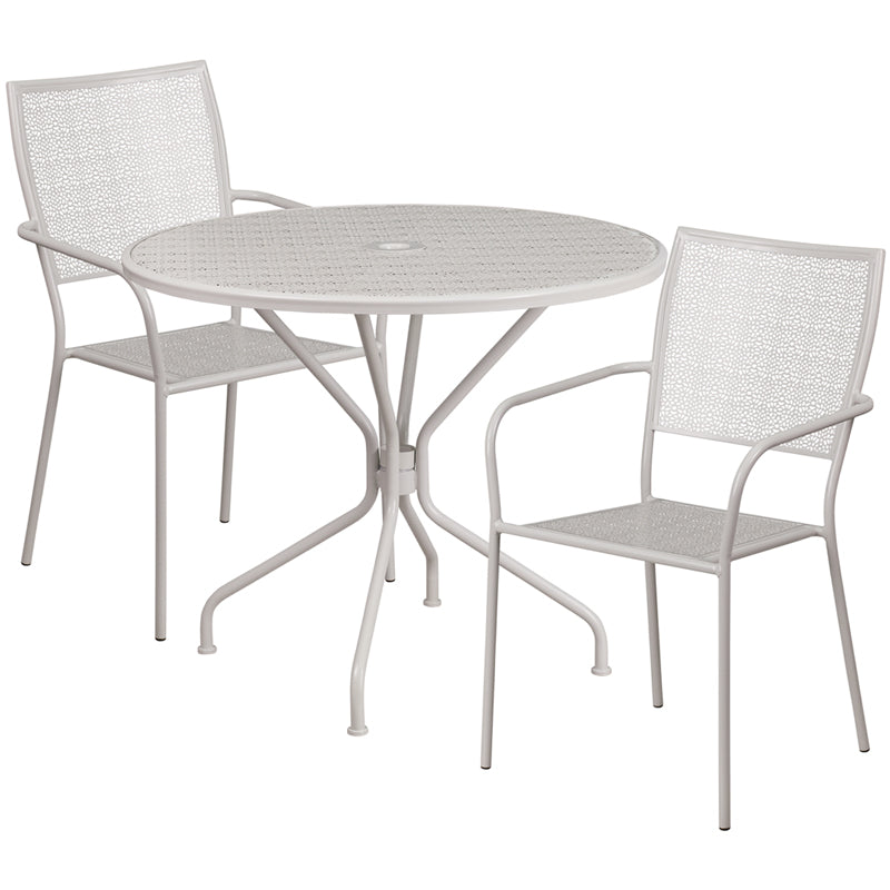 35.25'' Round Light Gray Indoor-Outdoor Steel Patio Table Set with 2 Square Back Chairs - CO-35RD-02CHR2-SIL-GG