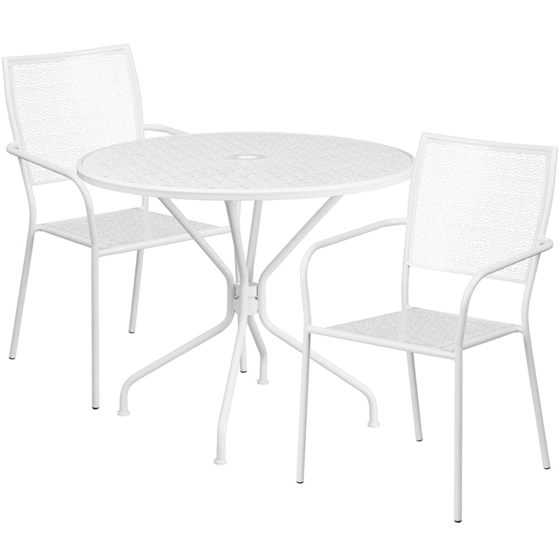 35.25'' Round White Indoor-Outdoor Steel Patio Table Set with 2 Square Back Chairs - CO-35RD-02CHR2-WH-GG