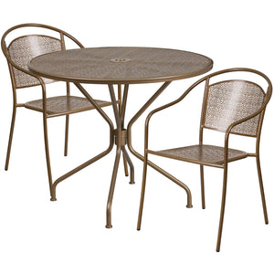 35.25'' Round Gold Indoor-Outdoor Steel Patio Table Set with 2 Round Back Chairs - CO-35RD-03CHR2-GD-GG