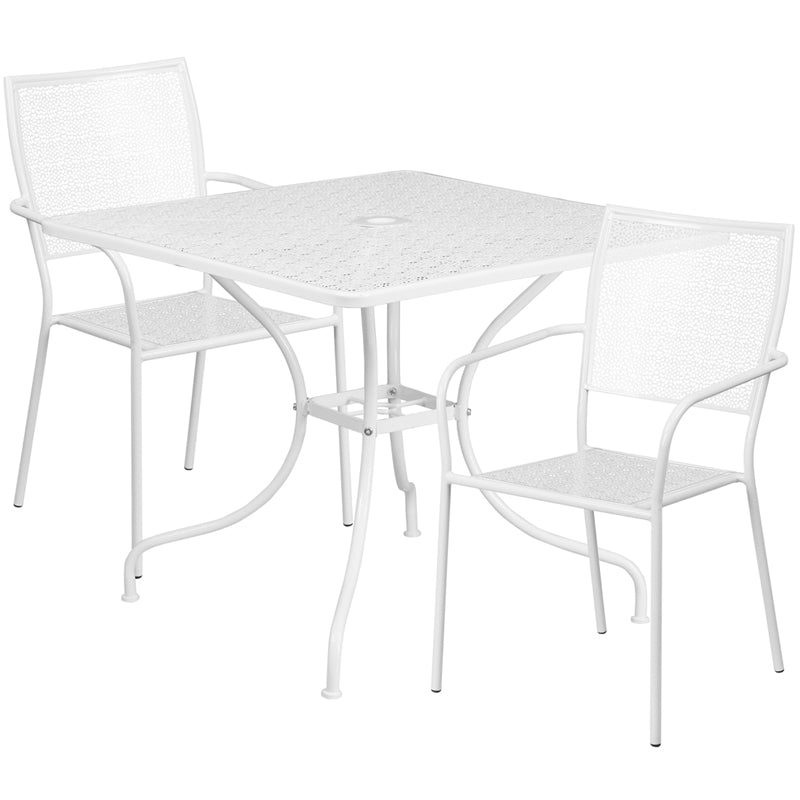35.5'' Square White Indoor-Outdoor Steel Patio Table Set with 2 Square Back Chairs - CO-35SQ-02CHR2-WH-GG
