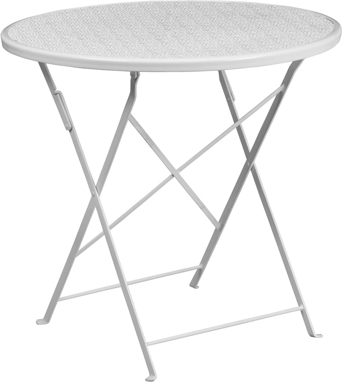 30'' Round White Indoor-Outdoor Steel Folding Patio Table - CO-4-WH-GG