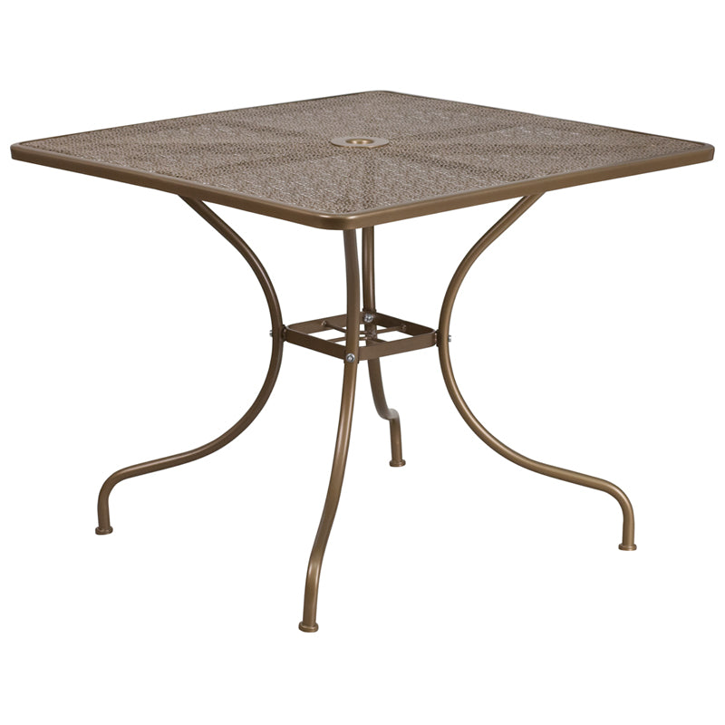35.5'' Square Gold Indoor-Outdoor Steel Patio Table - CO-6-GD-GG