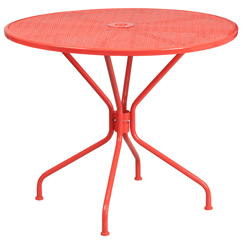 35.25'' Round Coral Indoor-Outdoor Steel Patio Table - CO-7-RED-GG