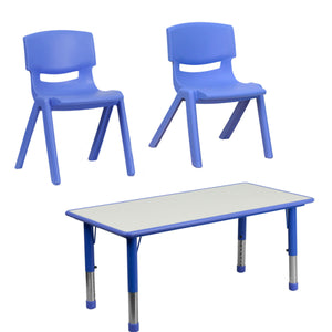 "Flash Furniture 12'' & 13.25"" Seat Height Blue Plastic Stackable School Chair with Rectangular Blue Plastic Height Adjustable Activity Table"