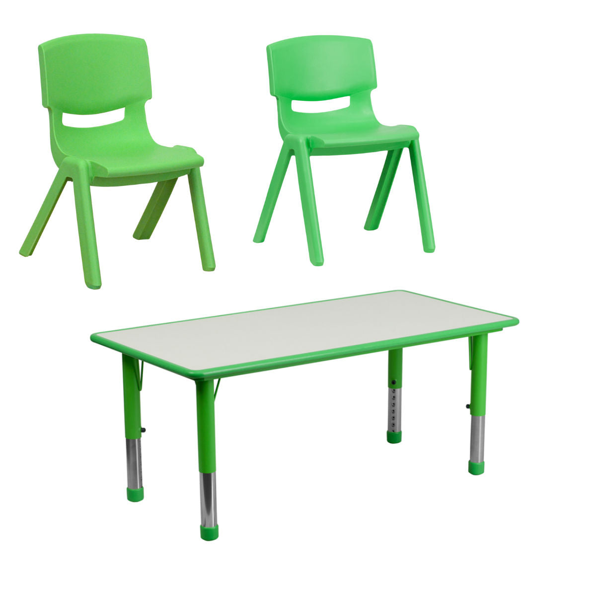 "Flash Furniture Rectangular Green and Gray Plastic Height Adjustable Activity Table with 13.25'' and 10.5"" Seat Height Plastic Stackable School Chair"