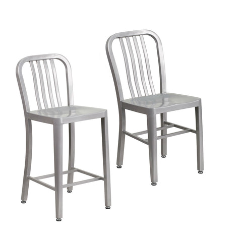 Flash Furniture Silver Metal Indoor-Outdoor Chair with 24'' High Silver Metal Indoor-Outdoor Counter Height Stool with Vertical Slat Back.