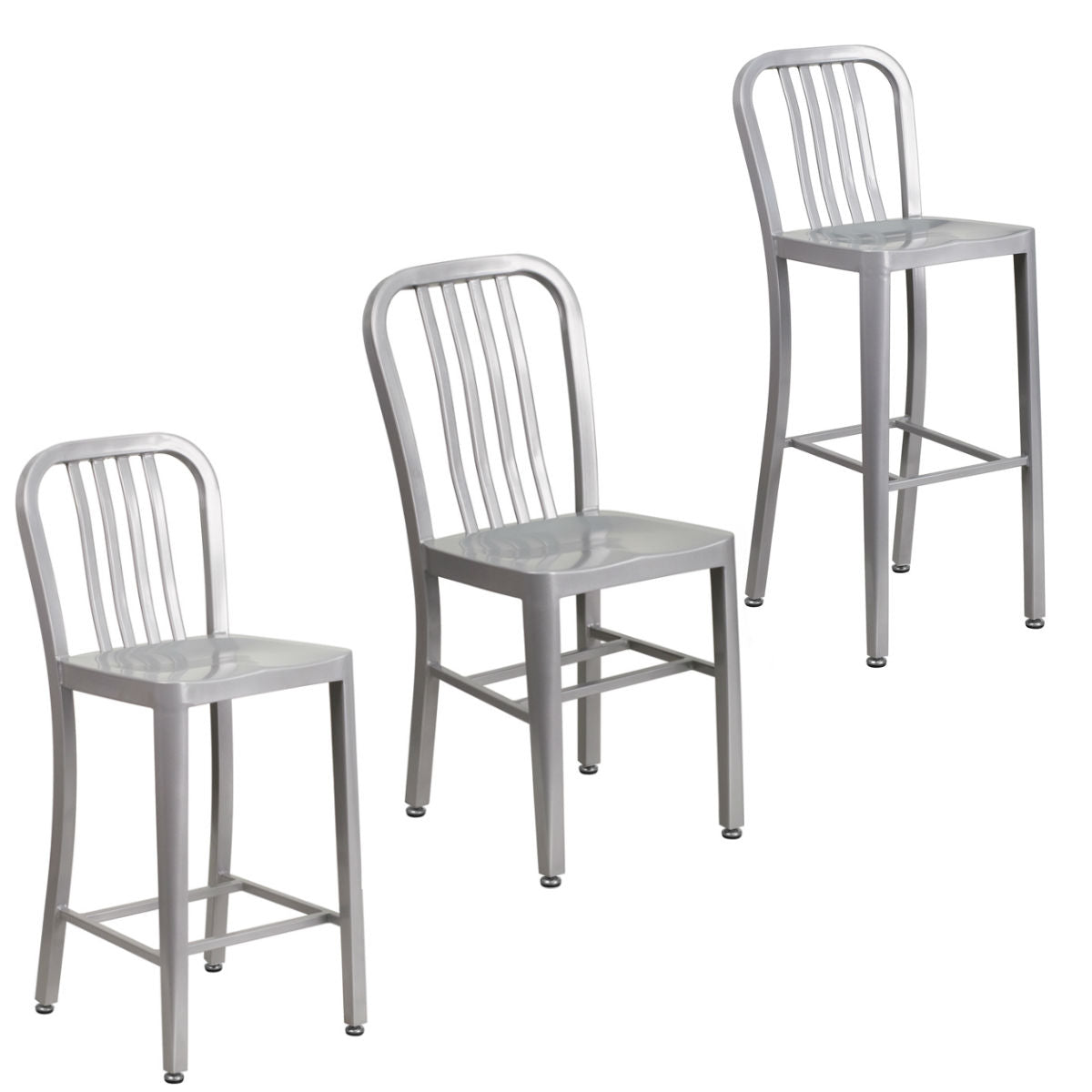 Flash Furniture Silver Metal Indoor-Outdoor Chair with High Silver Metal Indoor-Outdoor Counter Height Stool and Barstool with Vertical Slat Back.