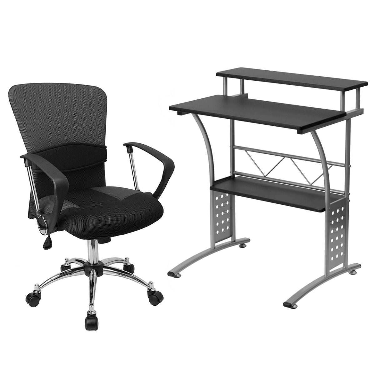 Flash Furniture Mid-Back Grey Mesh Swivel Task Chair with Arms and Clifton Black Computer Desk