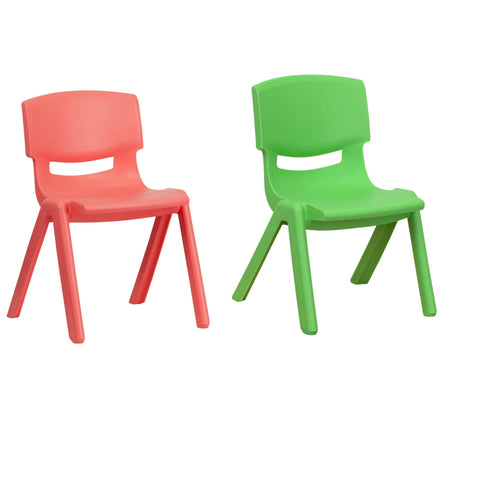 Flash Furniture Red Plastic Stackable School Chair with 13.25'' Seat Height and Green Plastic Stackable School Chair with 10.5'' Seat Height