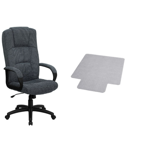Flash Furniture High Back Gray Fabric Executive Swivel Chair with Arms and Carpet Chair Mat with Lip