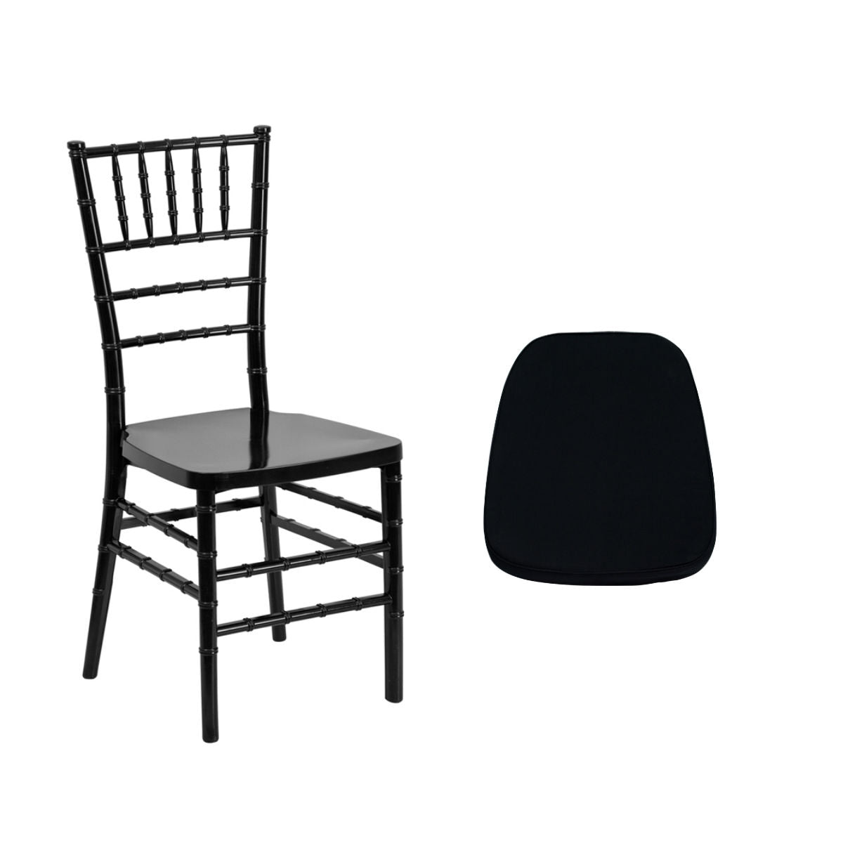 Flash Furniture HERCULES PREMIUM Series Black Resin Stacking Chiavari Chair with Soft Black Fabric Chiavari Chair Cushion