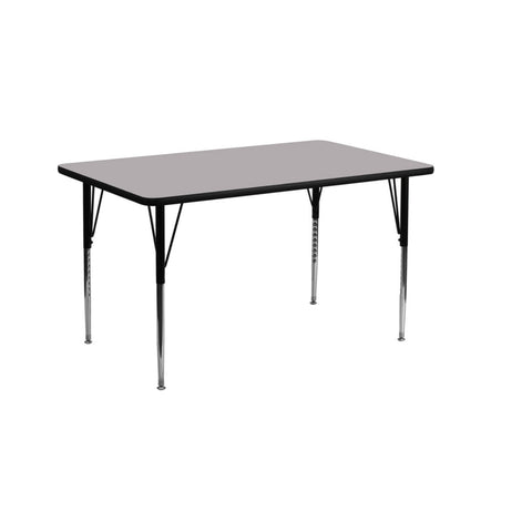 Flash Furniture 30''W x 72''L and 24''W x 48''L Rectangular Grey Thermal Laminate Activity Table - Standard Height Adjustable Legs
