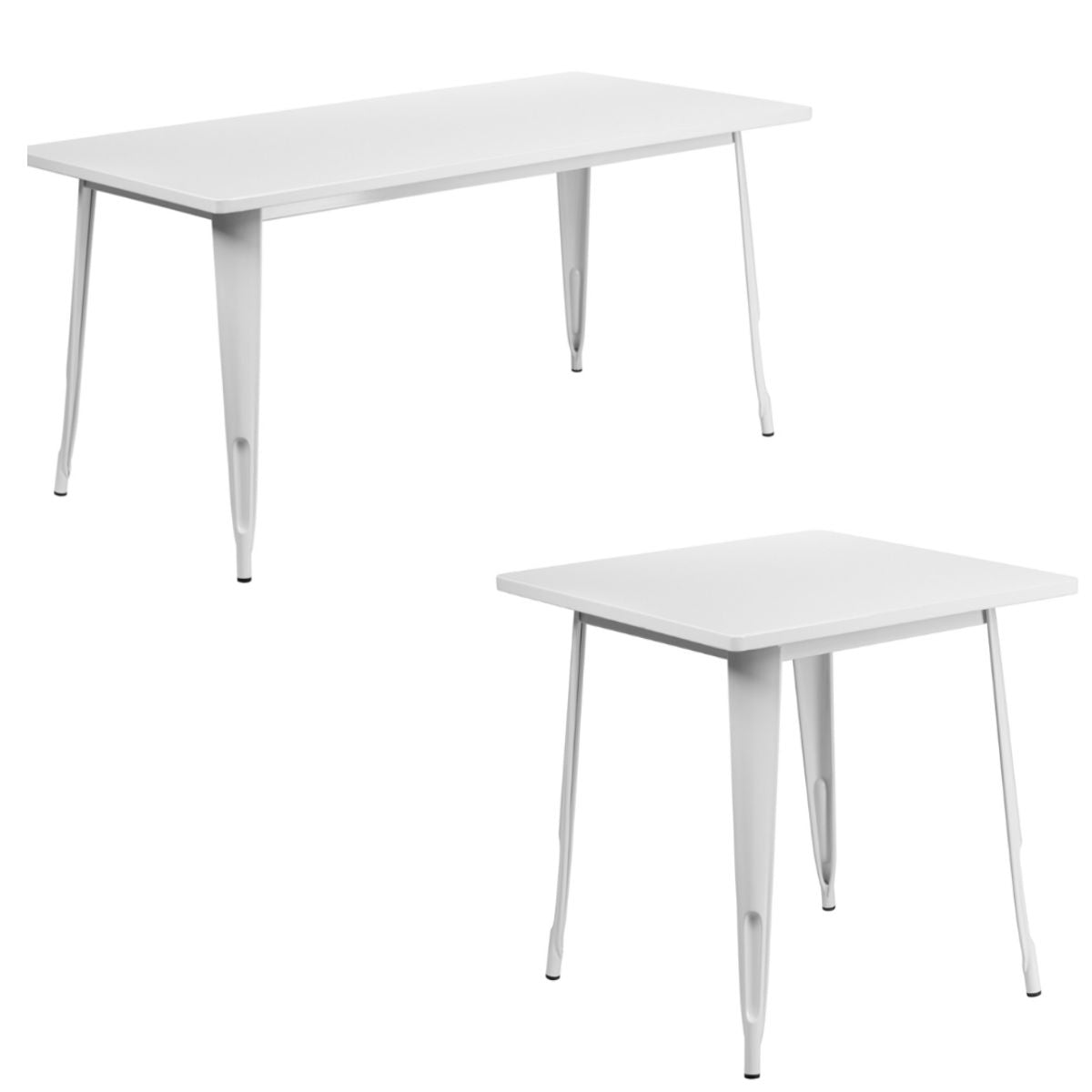 Flash Furniture 31.5'' x 63'' Rectangular White Metal Indoor-Outdoor Table with 31.5'' Square White Metal Indoor-Outdoor Table