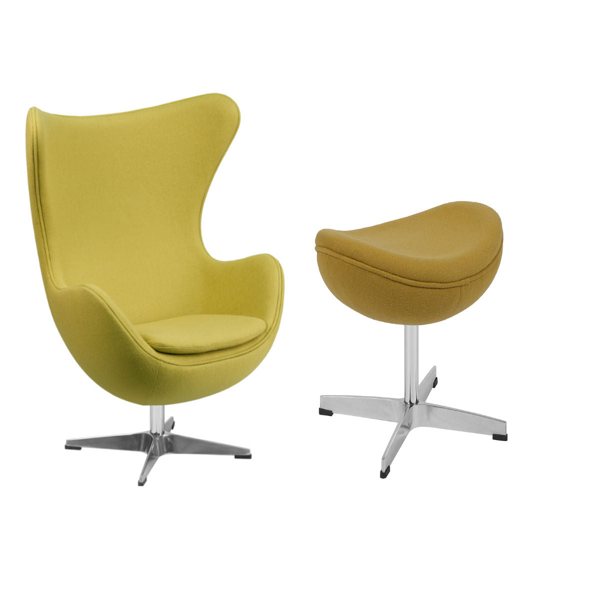 Flash Furniture Citron Wool Fabric Egg Chair with Tilt-Lock Mechanism and Citron Wool Fabric Ottoman