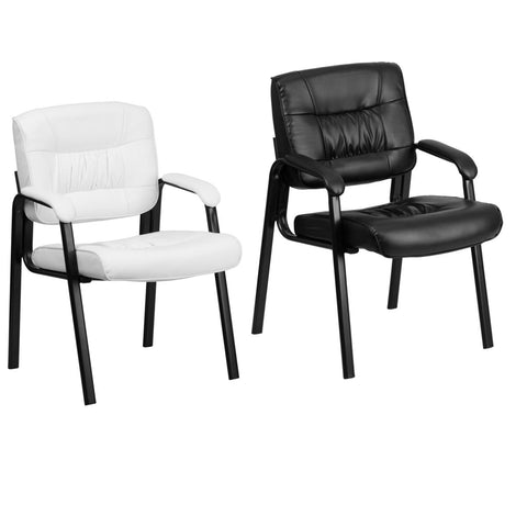 Flash Furniture White and Black Leather Executive Side Reception Chair with Black Frame Finish