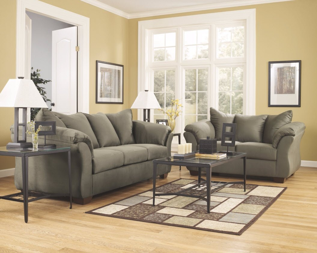 Flash Furniture Signature Design by Ashley Darcy Loveseat and Sofa Contemporary Style Microfiber Couch, Sage