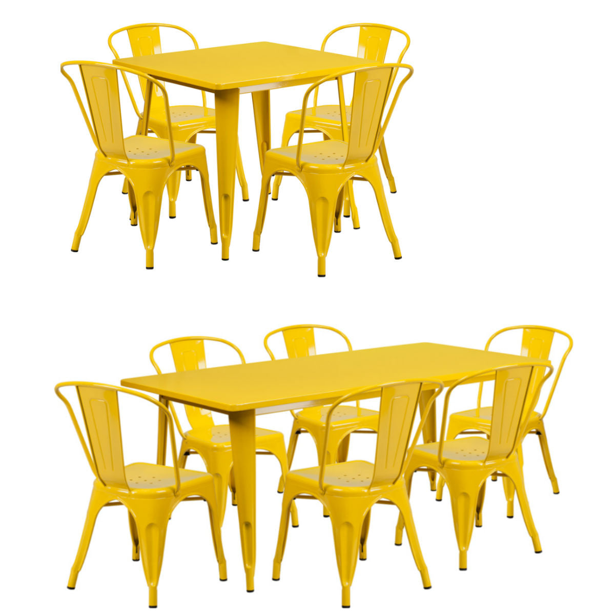 Flash Furniture Yellow Metal Indoor-Outdoor 31.5'' x 63'' Rectangular Table Set with 6 Stack Chairs and 31.5'' Square Table Set with 4 Stack Chairs