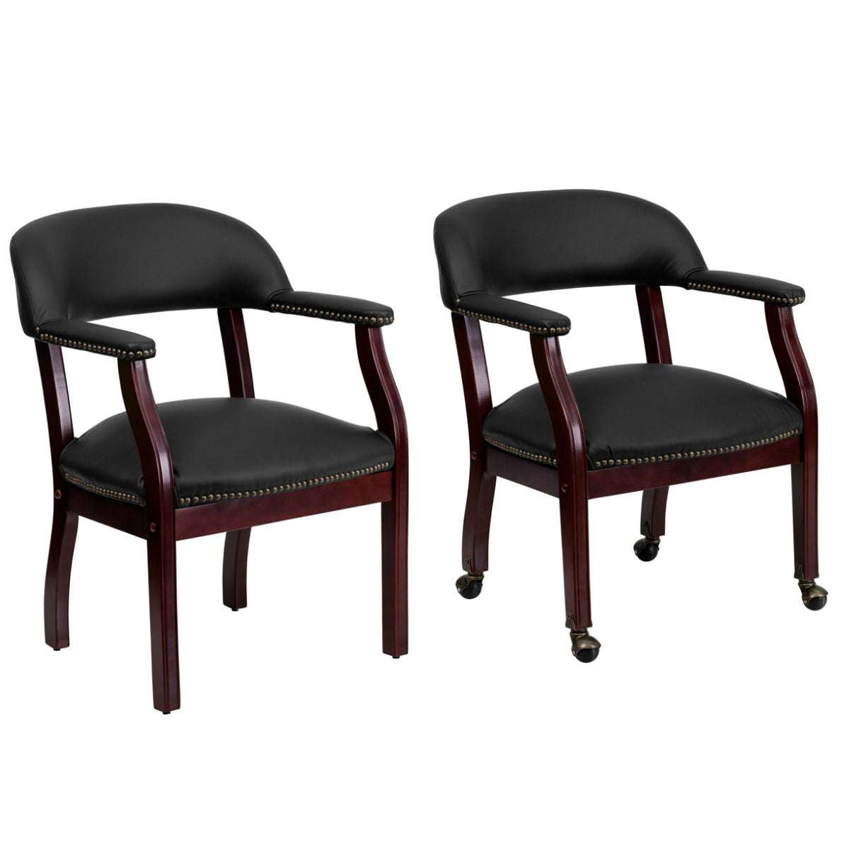 Flash Furniture Black Top Grain Leather Conference Chair and Conference Chair with Casters