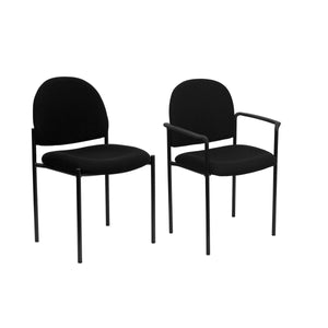 Flash Furniture Comfort Black Fabric Stackable Steel Side Reception Chair with Arms and without Arms