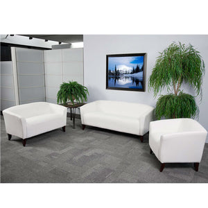 Flash Furniture HERCULES Imperial Series White Leather Loveseat, Chair and Sofa