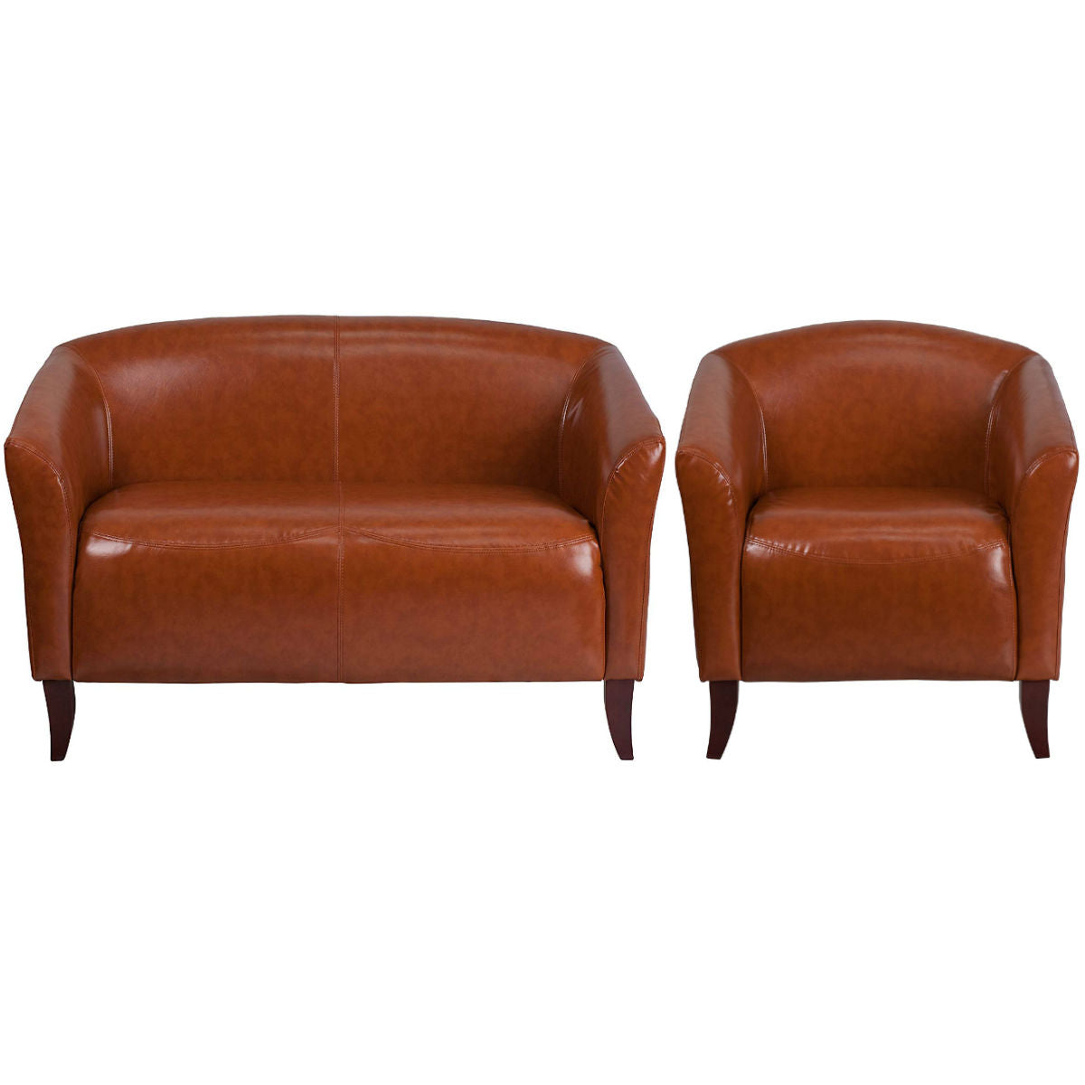 Flash Furniture HERCULES Imperial Series Cognac Leather Loveseat and Chair