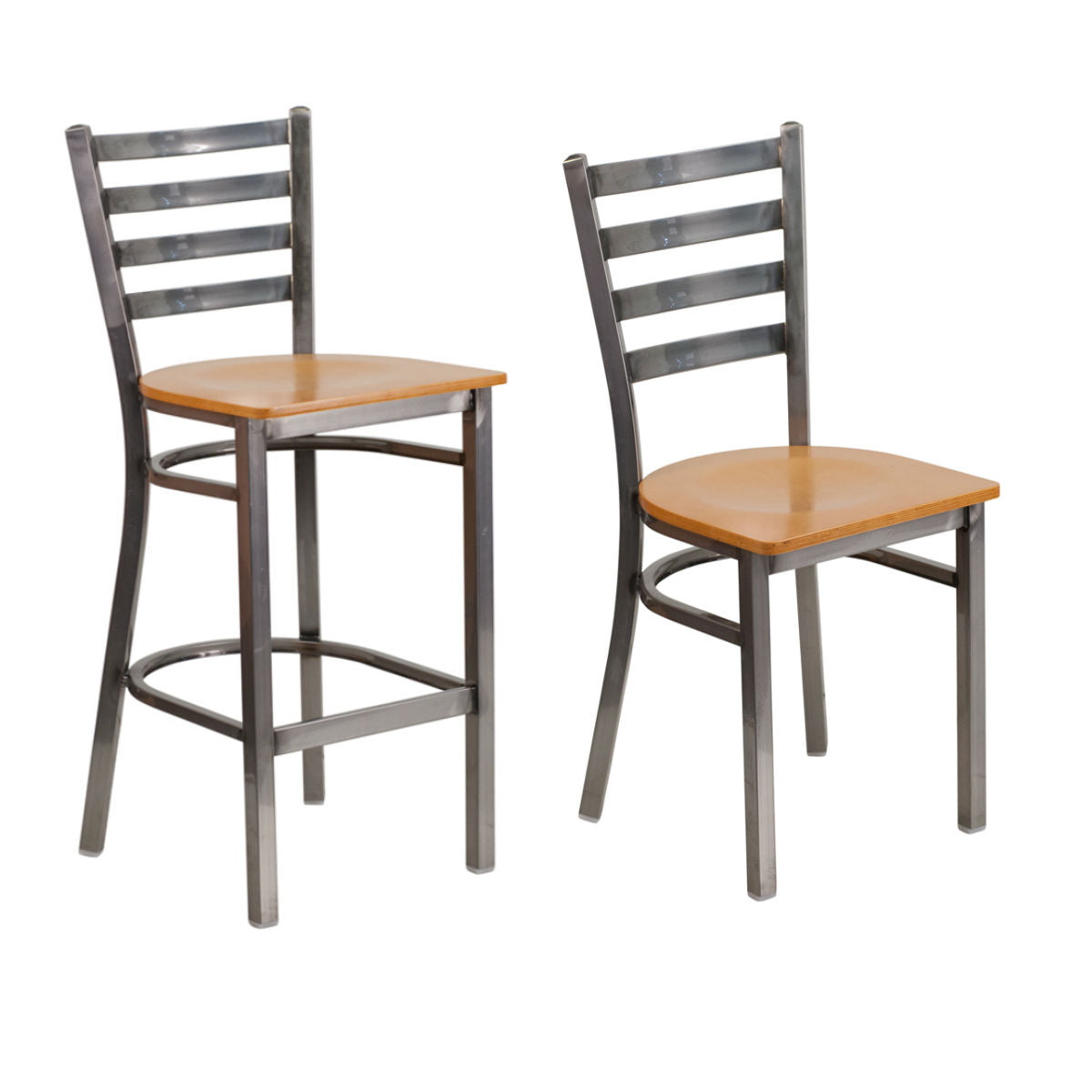 Flash Furniture HERCULES Series Clear Coated Ladder Back Metal Restaurant Chair and Barstool - Natural Wood Seat