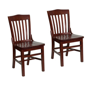 Flash Furniture HERCULES Series School House Back Mahogany Wood Restaurant Chair and Barstool