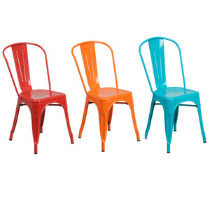 Flash Furniture Red, Orange and Crystal Teal-Blue Metal Indoor-Outdoor Stackable Chair