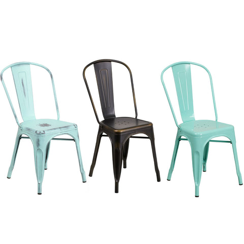 Flash Furniture Distressed Metal Indoor-Outdoor Stackable Chair - Green-Blue, Copper and Mint Green.