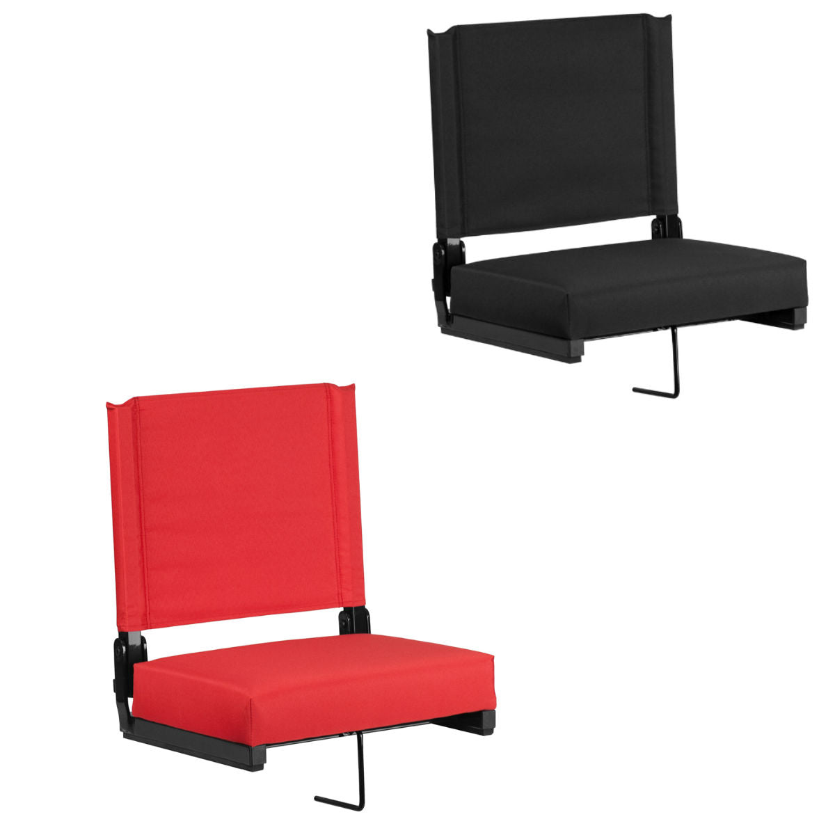 Flash Furniture Grandstand Comfort Seats by Flash with Ultra-Padded Seat in Black and Red