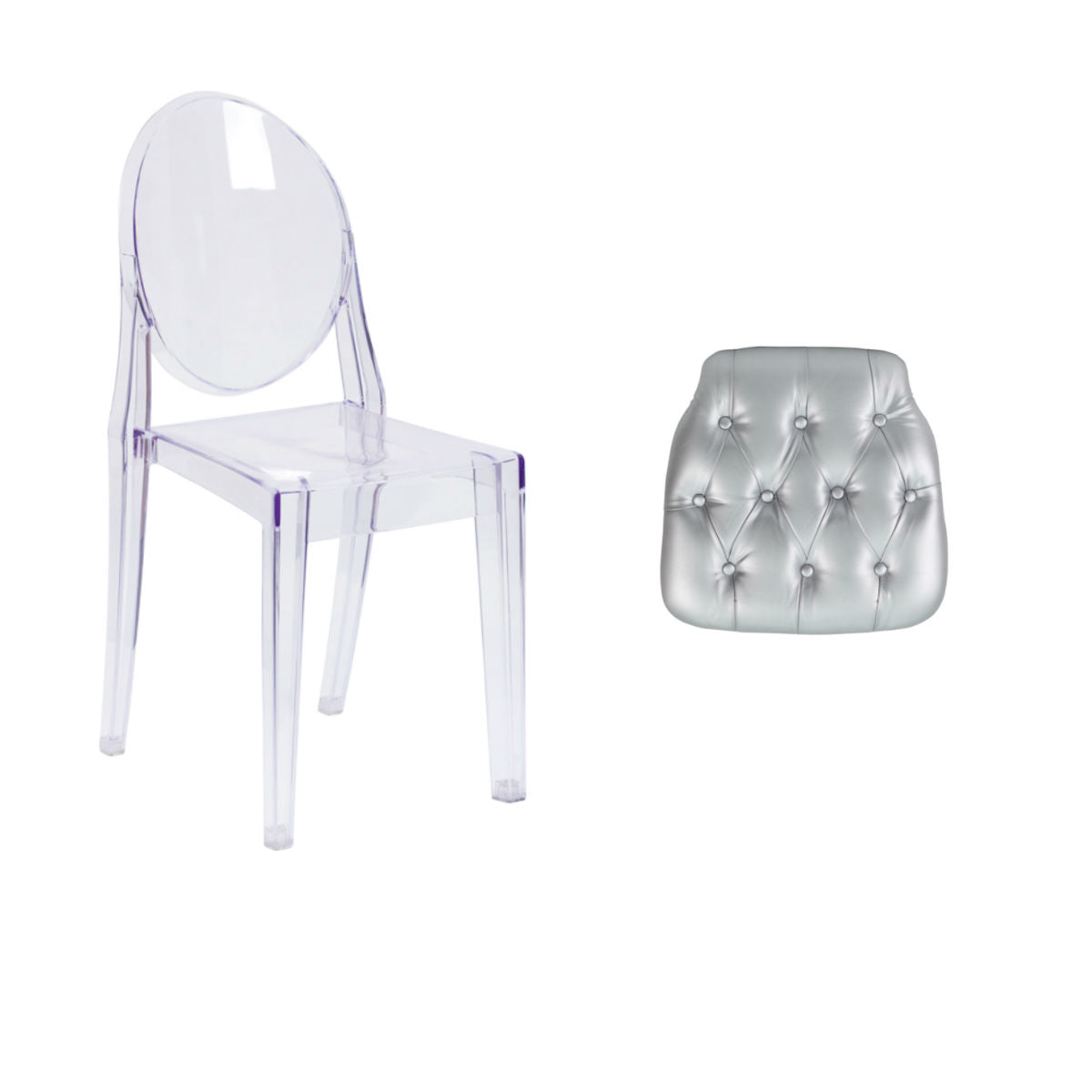 Flash Furniture Ghost Side Chair in Transparent Crystal with Hard Silver Tufted Vinyl Chiavari Chair Cushion