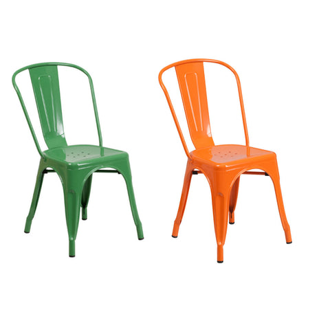 Flash Furniture Orange and Green Metal Indoor-Outdoor Stackable Chair