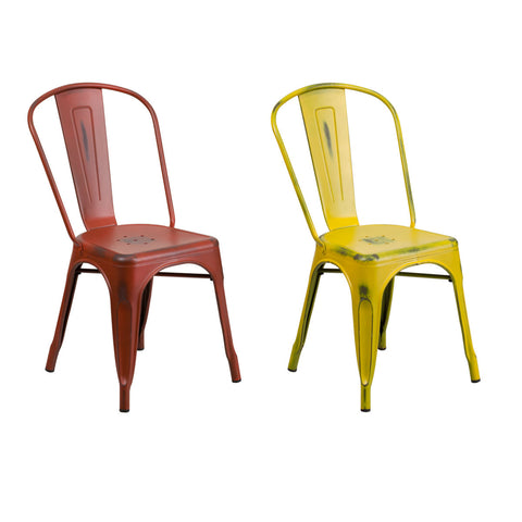 Flash Furniture Distressed Kelly Red and Yellow Metal Indoor-Outdoor Stackable Chair
