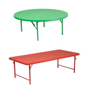 Flash Furniture 48'' Round Kid's Green Plastic Folding Table with 30''W x 60''L x 19''H Kid's Red Plastic Folding Table