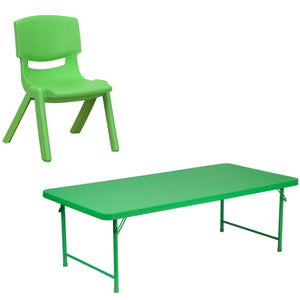 Flash Furniture 30''W x 60''L x 19''H Kid's Green Plastic Folding Table with Green Plastic Stackable School Chair