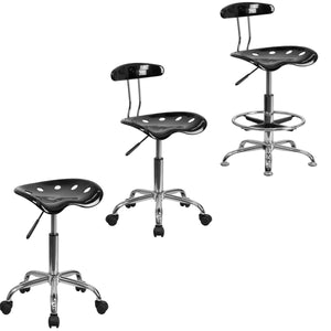Flash Furniture Vibrant Black Chrome Swivel Task Chair with Vibrant Black Tractor Seat Chrome Stool and Vibrant Black Chrome Drafting Stool
