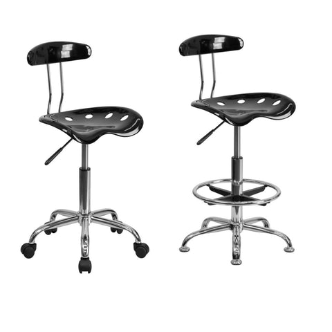 Flash Furniture Vibrant Black and Chrome Swivel Task Chair and Chrome Drafting Stool with Tractor Seat