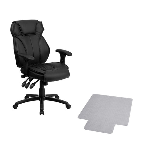 Flash Furniture Offex High Back Black Leather Executive Office Chair with Triple Paddle Control and Carpet Chair Mat with Lip
