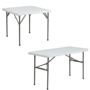 Flash Furniture 24''W x 48''L rectangular with 34'' Square Granite White Plastic Folding Table