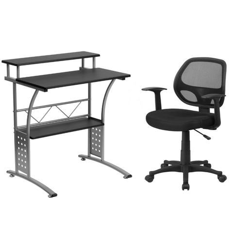Flash Furniture Mid-Back Black Mesh Swivel Task Chair with Arms and Clifton Black Computer Desk