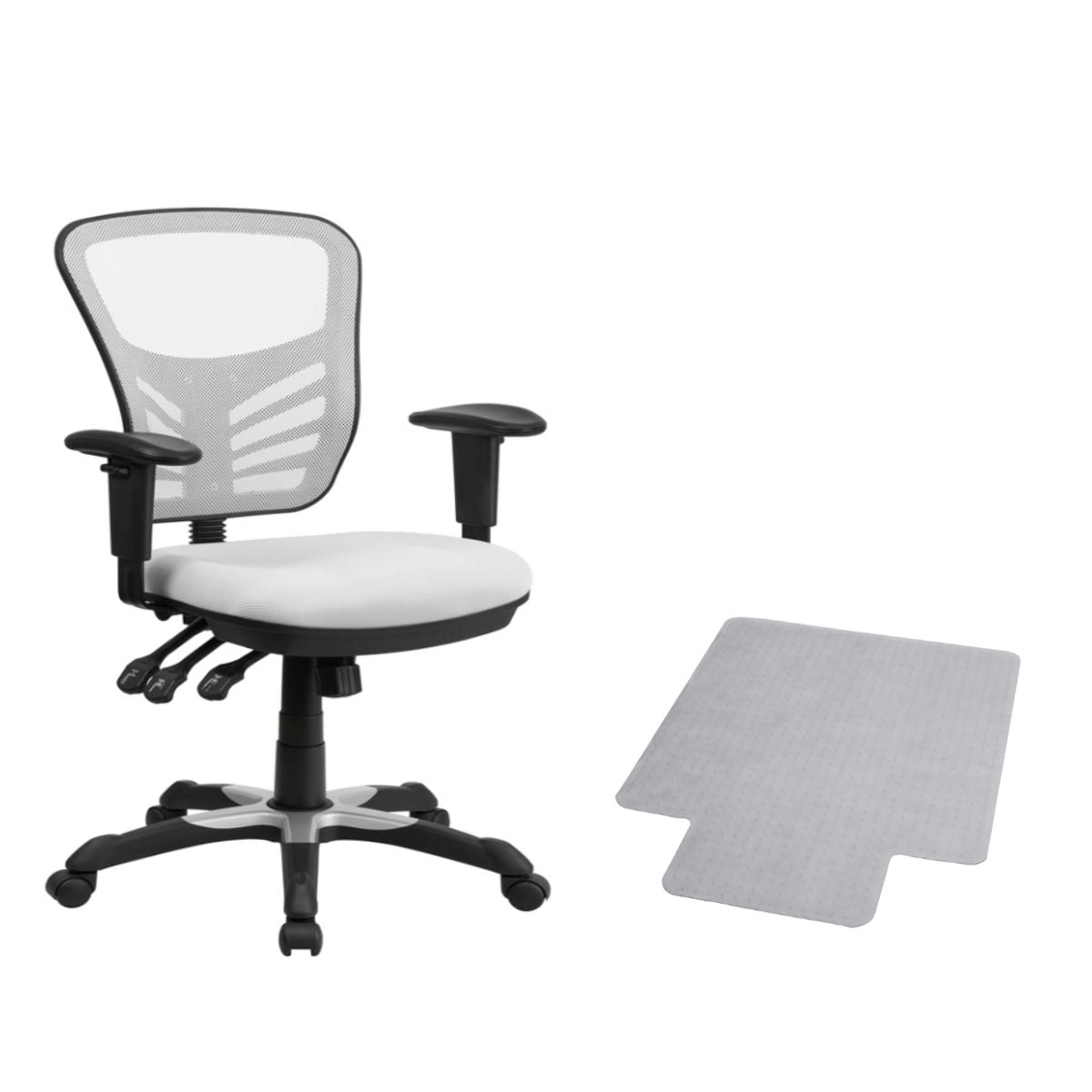 Flash Furniture Mid-Back White Mesh Multifunction Executive Swivel Chair with Adjustable Arms and Carpet Chair Mat with Lip