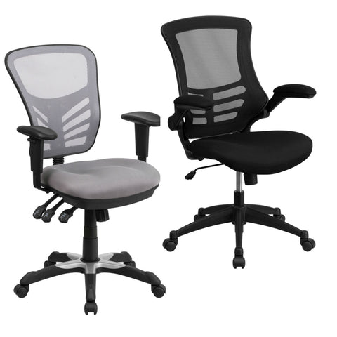 Flash Furniture Mid-Back Gray Mesh Multifunction Executive Swivel Chair with Adjustable Arms & Mid-Back Black Mesh Swivel Task Chair with Flip-Up Arms