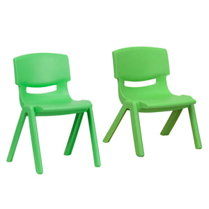Flash Furniture Green Plastic Stackable School Chair with 13.25'' Seat Height and 10.5'' Seat Height