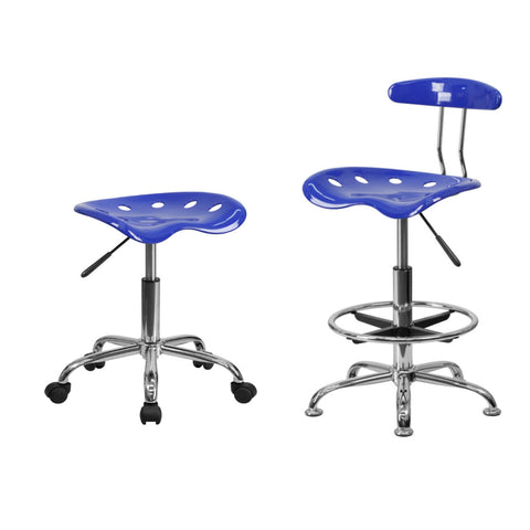 Flash Furniture Vibrant Nautical Blue Chrome Drafting Stool and Chrome Stool with Tractor Seat.