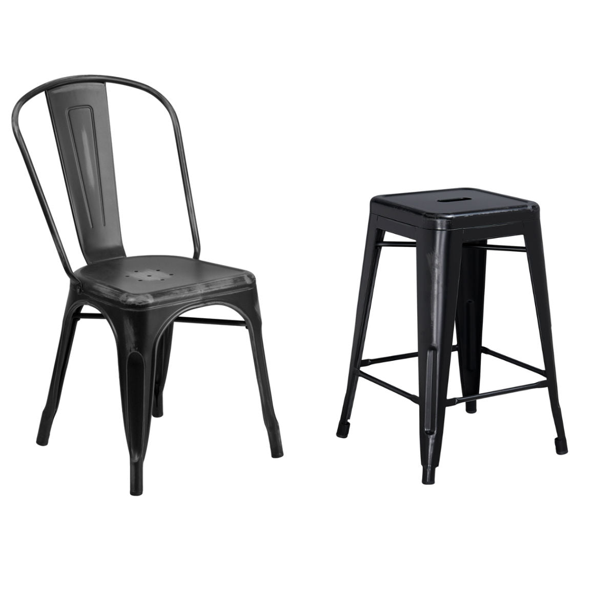 Flash Furniture Distressed Black Metal Indoor-Outdoor Stackable Chair with Backless Distressed Black Metal Indoor Counter Height Stool