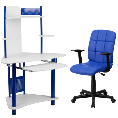 Flash Furniture Mid-Back Blue Quilted Vinyl Swivel Task Chair with Arms and Blue Corner Computer Desk with Hutch