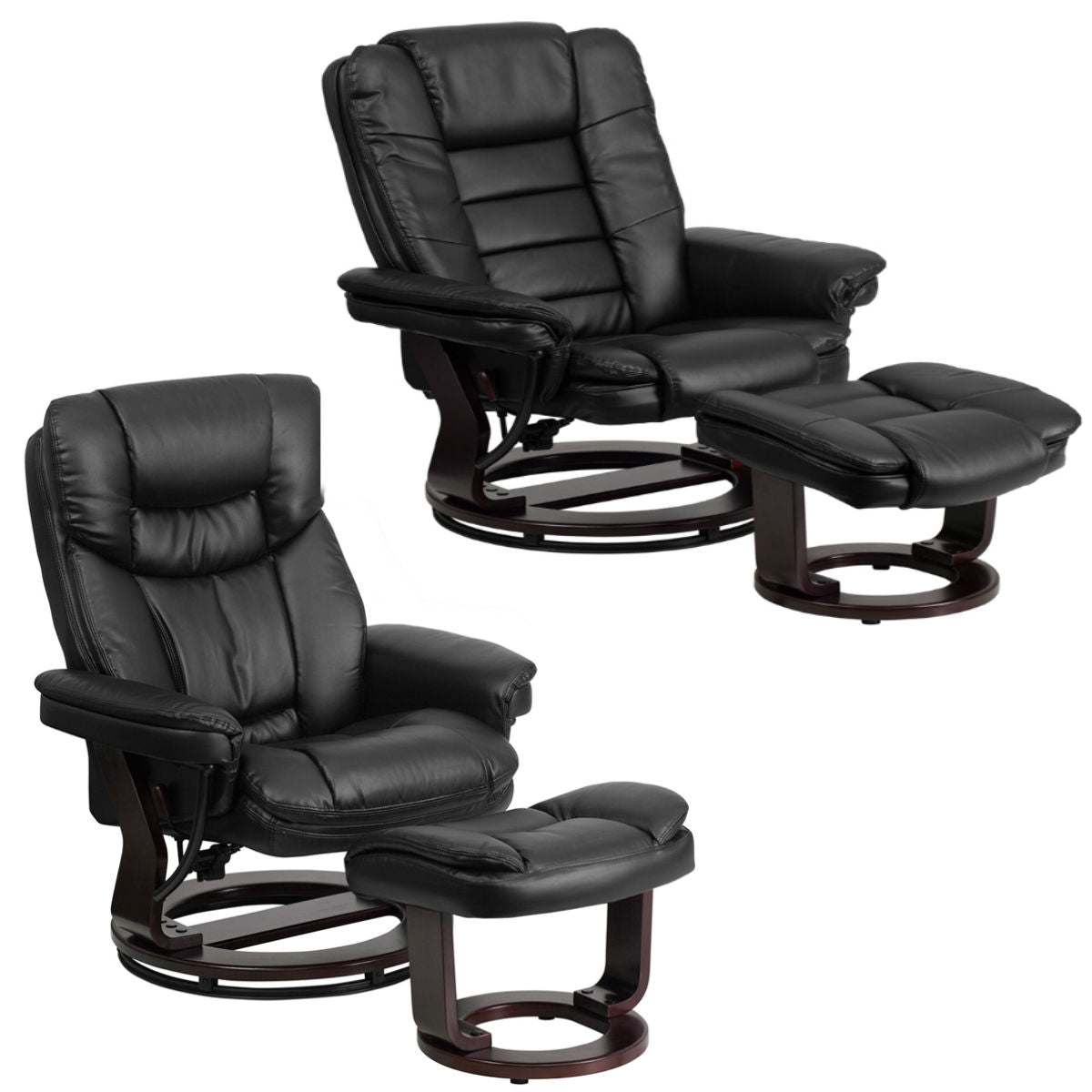 Flash Furniture two different design Contemporary Black Leather Recliner and Ottoman with Swiveling Mahogany Wood Base