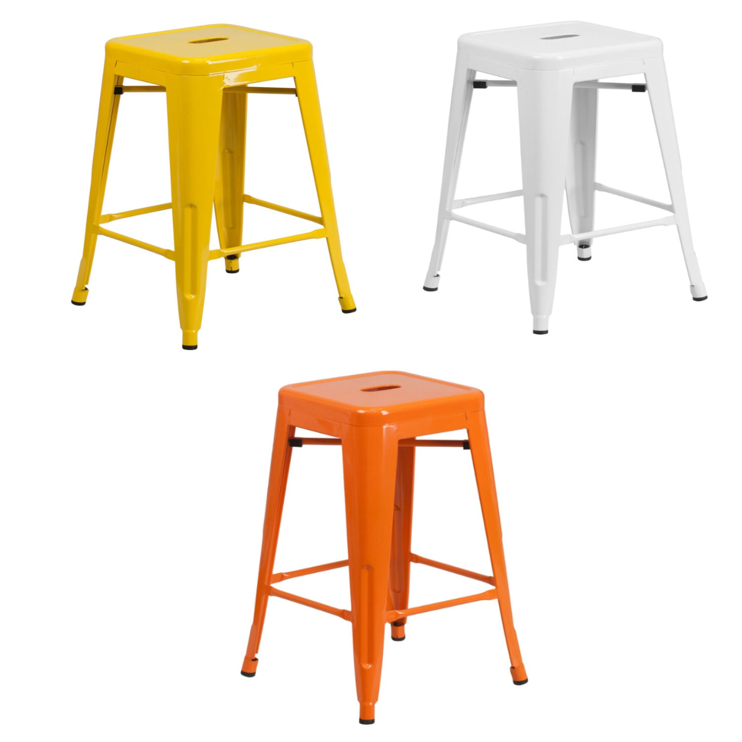Flash Furniture 24'' High Backless White, Yellow and Orange Metal Indoor-Outdoor Counter Height Stool with Square Seat