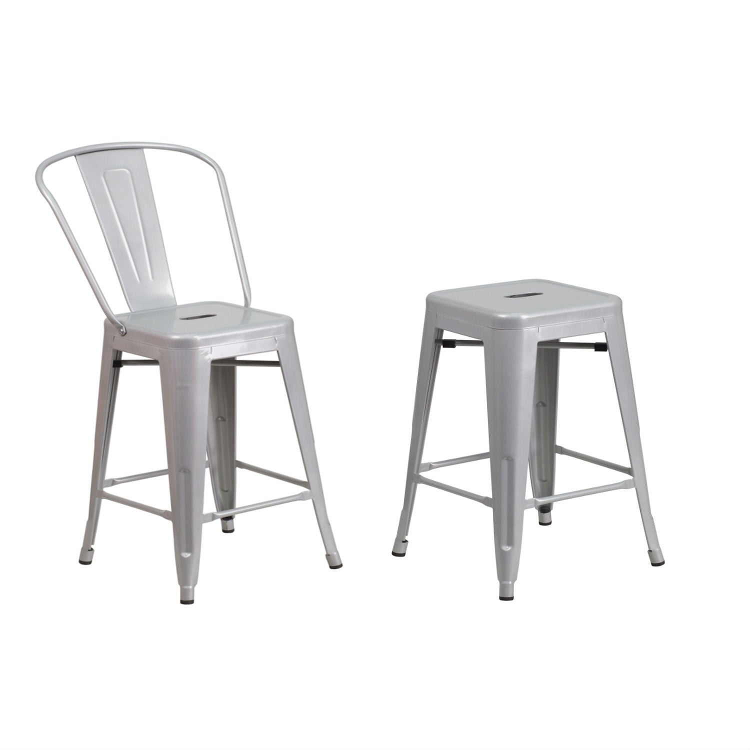 "Flash Furniture Metal Indoor-Outdoor Stool, 24"", Silver and 24'' High Backless Silver Metal Indoor-Outdoor Counter Height Stool with Square Seat"