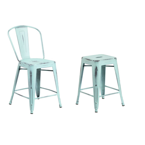 Flash Furniture 24'' High Distressed Green-Blue Metal Indoor-Outdoor Counter Height Stool with Back and Counter Height Stool